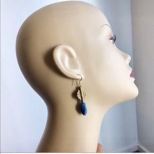 Lapis Lazuli  Earrings African Brass Baolayue